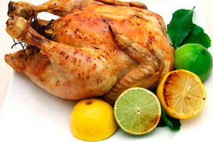 Whole baked chicken with lemon