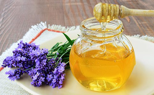 A jar of honey and a sprig of fragrant lavender